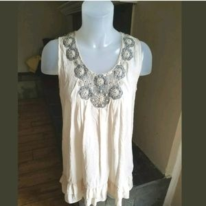 Love Stitch Small Embroidery Beaded Crochet Top